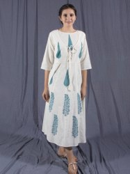 Stitched Party Wear Cotton White Long Kurti