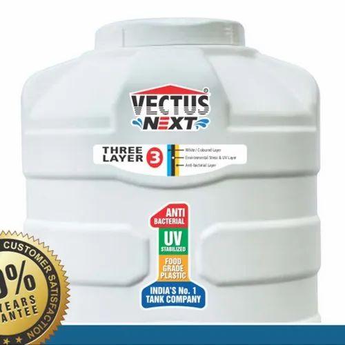Three Layer Plastic Vectus Next White Triple Layered Water Tank