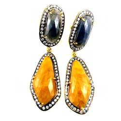Sliced Sapphire Earring