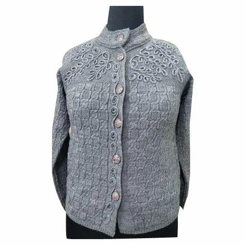 bb3f345f592 Ladies Grey Full Sleeve Woolen Cardigan