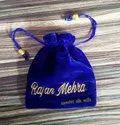 Blue Velvet Embroidery Potli Bag, 10 - 20 Gm