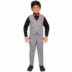 Grey And Black Readymade Cotton Blend Shirt Pant With Waistcoat