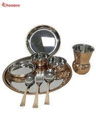 Copper / SS Dinner Set with Matka Glass (9 Pcs)