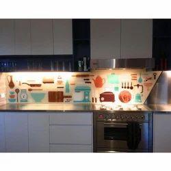 Kitchen Designer Printed Glass, Shape: Rectangle
