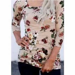 Round Casual Wear Ladies Floral Printed T Shirt, Size: S-4XL