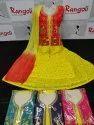 Rangoli Designer Contrast Yellow Anarkali Suit, Handwash