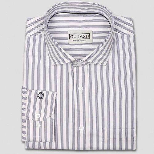 c644255ff7 Blue And White Cutasu Four Blue Line Stripes Shirt, Rs 1180 /piece ...