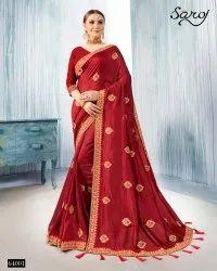 Designer Vichtra Silk  Dyed Saree