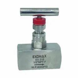 Exomax Stainless Steel 1/2 Inch NPT F Needle Valve
