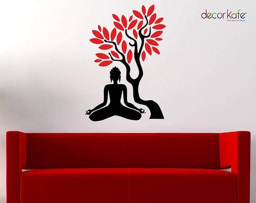 Decor Kafe Black Buddha Yogasan Wall Stickers