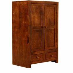 Double Door Solid Wood Sandy Brown Wardrobe