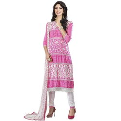 Rajnandini Pink Heavy Glass Cotton Embroidered Unstitched With Zari Work Weaved Dupatta