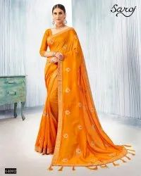 Yellow Color Vichitra Silk Saree