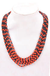 Coral & Black Spinel Smooth Necklace