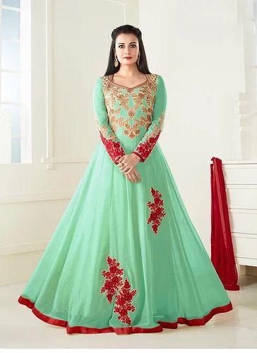2dcc2818d9 Wedding Wear Green Color Georgette Beautiful Salwar Kameez, Rs 1705 ...