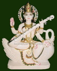 White Marble Saraswati Idol