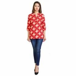 Round Neck Printed Ladies Cotton Casual Top