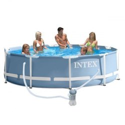 Intex 12 Ft Prim Metal Frame Swimming Pool With Water Filter
