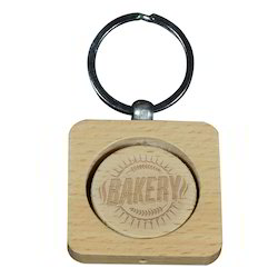 Laserable Wooden Square Keyring