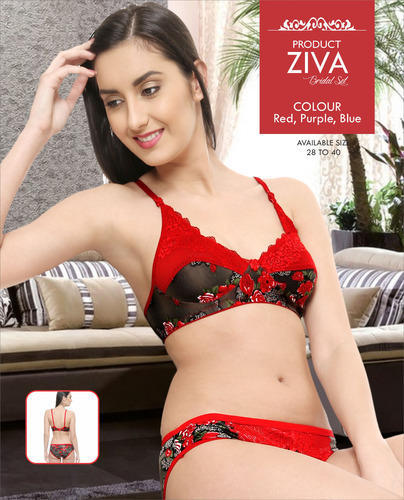 a31b27eb6 Red And Black Lycra Cotton Ziva Ladies Bra Set