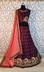 Thankar Semi-Stitched Designer Stylish Wedding Wear Embroidered Lehenga
