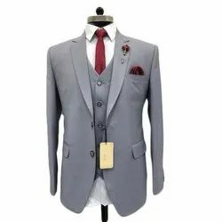 Imported Fabric Wedding Wear Mens Grey Formal Suit, Size: M - XXL