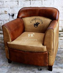 Old English Tan Leather Armchairs for Hotels, Resorts & Restaurants