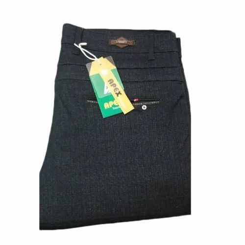 Casual Black Slim Fit Mens Cotton Trouser, 28-36