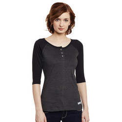 Ladies  3/4 Sleeve Plain T Shirt