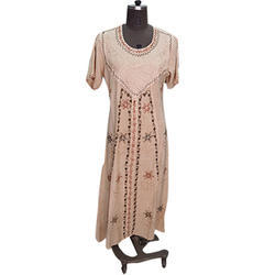 Round Neck Rayon Long Dress