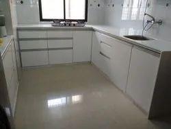 White Modern Corian J Modular Kitchen with Shutters