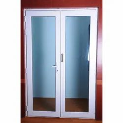 Toughened Glass Lever Handle White Frame UPVC Door, 4mm