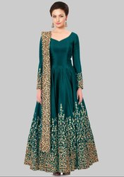 Rama Green Silk Heavy Anarkali Suit
