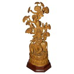 Natural Wooden Krishna Cow Tree Statue