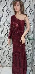 Party Wear Red Women's Sequin Long Gown