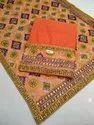 Unstitched Orange Chanderi Handicraft Suit