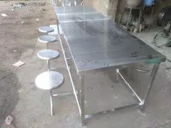8 Seater Stainless Steel Dining Table, For Industrial