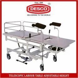 Mild Steel Telescopic Labour Table Adjustable Height for Hospital, Warranty: 1 Year
