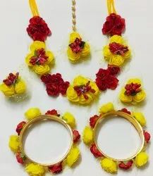 Red And Yellow Paper Flower Jewellery Set For Wedding