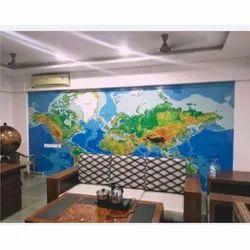 Vinyl Printed Custom World Map Wallpaper, Thickness: 0.08 to 0.25 mm