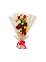 Mix Roses Wrapped In Beautiful Front Shaped Packing