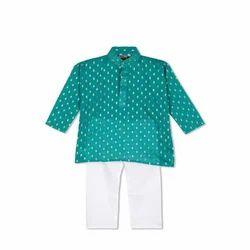 Tussar Silk Full Collar Kids Kurta Pyjama