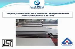 BIS Certification for Steel Plates for Pressure Vessels Used at Moderate and Low Temperature