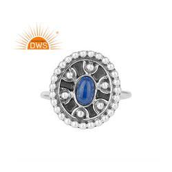 Lapis Lazuli Gemstone 925 Sterling Silver Oxidized Finish Ring Supplier