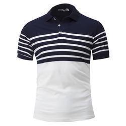Striped Trim Short Sleeve Cotton Polo T-Shirt