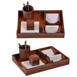 Brown Card And Pen Stand Set