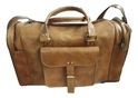 Brown Plain Genuine Leather Duffle Bag