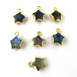 Labradorite Star Charms -  Gold Electroplated Gemstone Jewelry Charms Pendant