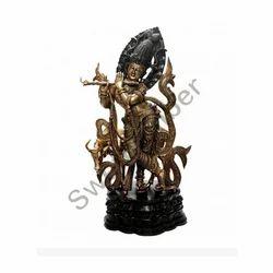 Brass Cow Krishna idol