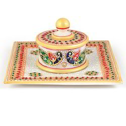 Gold Marble Jewellery Box n Tray 391